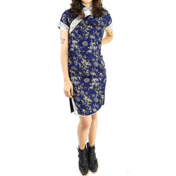 Silk Navy Blue Qi Pao Dress