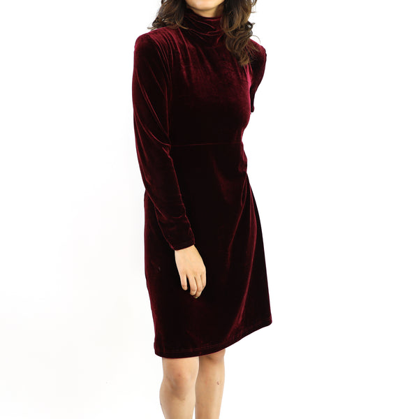Burgundy Velvet Shift Dress