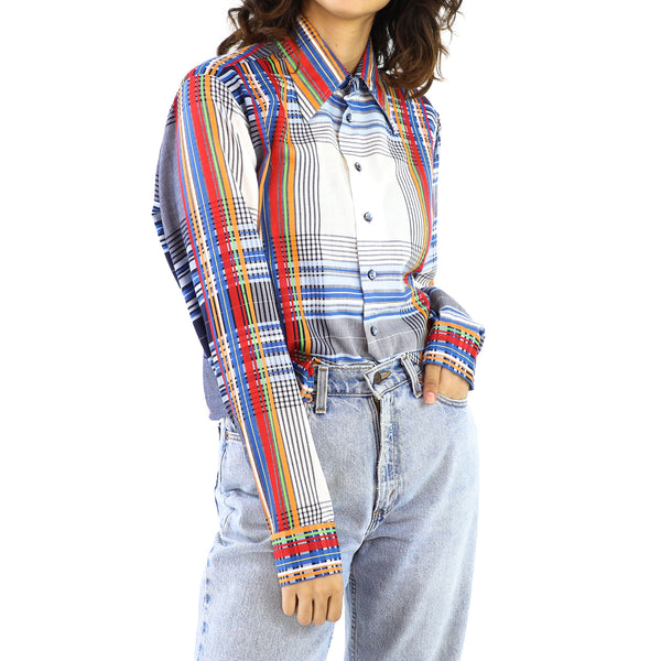 Colorful Plaid Cotton Blouse