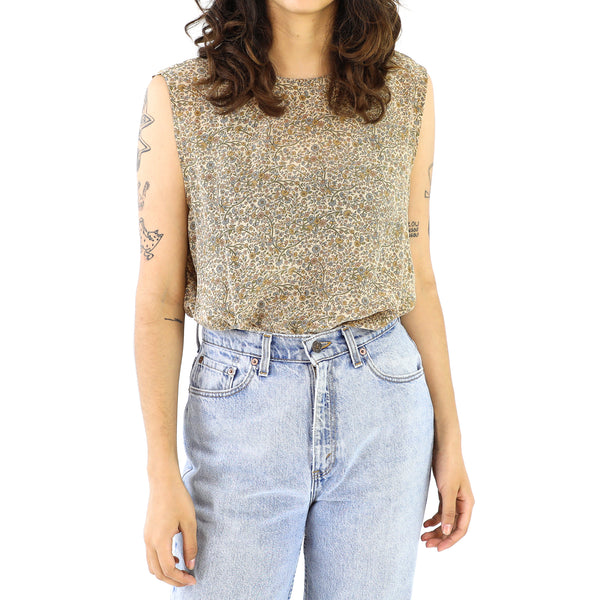 Champagne Floral Silk Sleeveless Blouse