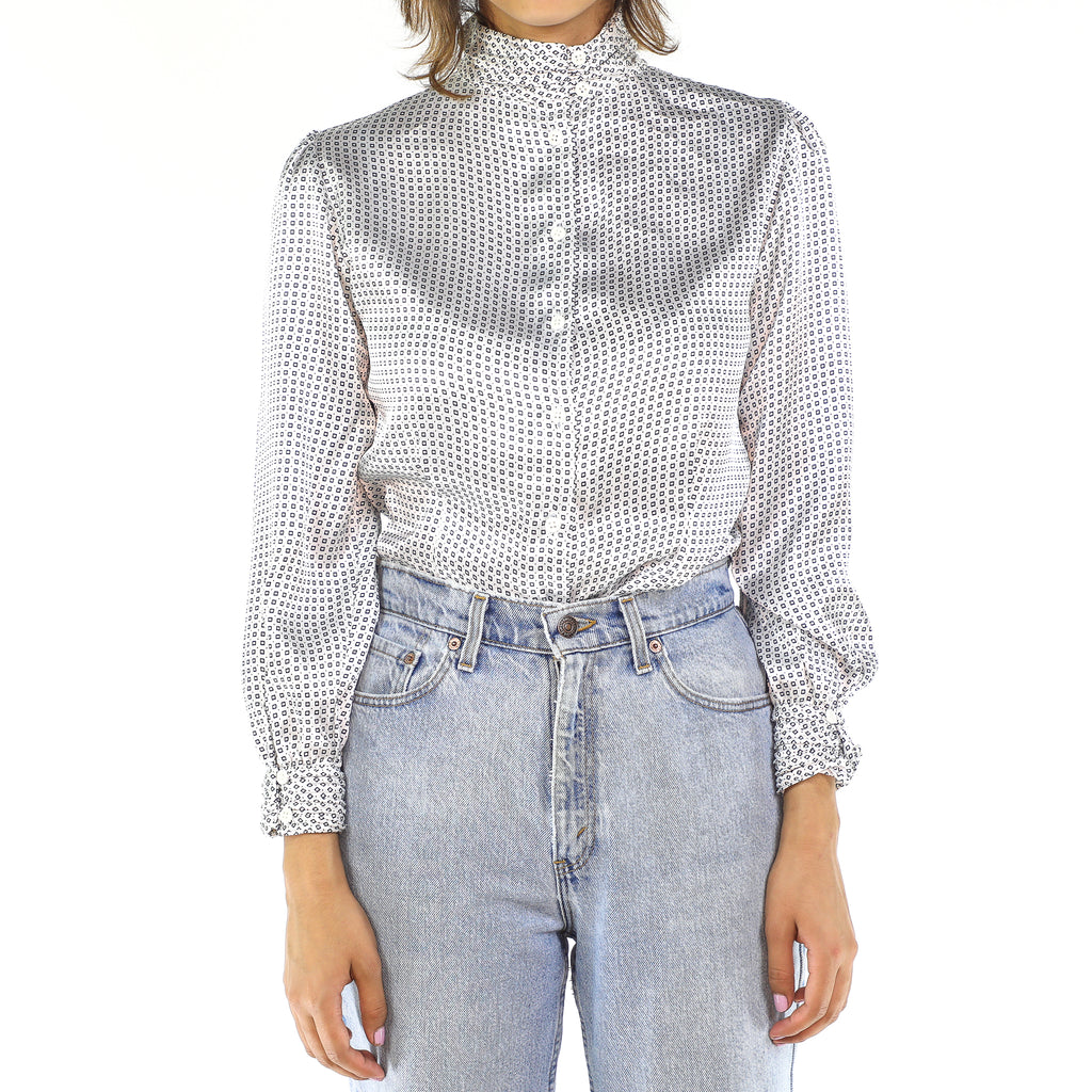 Square Details Silver Long Sleeve Blouse