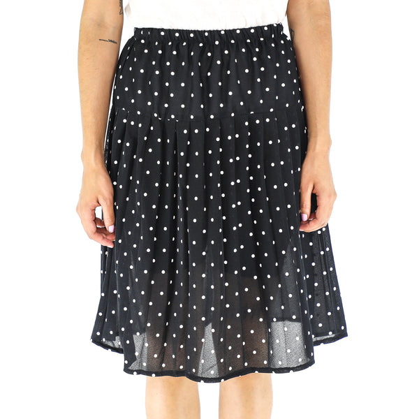 Black & White Polka Dots Midi Skirt