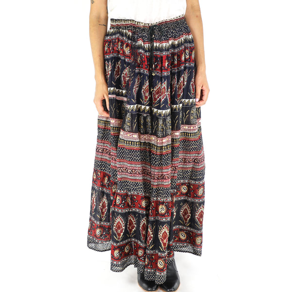 Vintage Cotton Boho Maxi Skirt