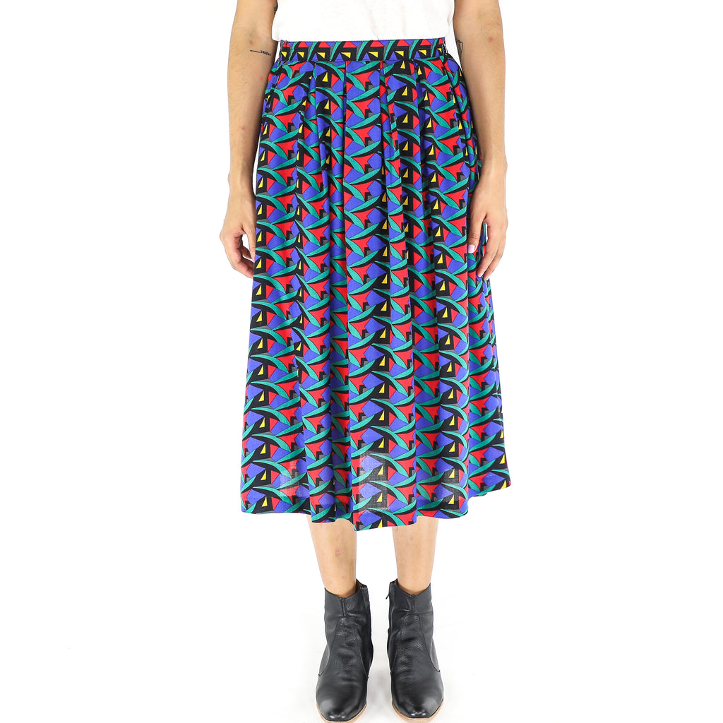 Multicolor Rayon 70's Pleated Skirt