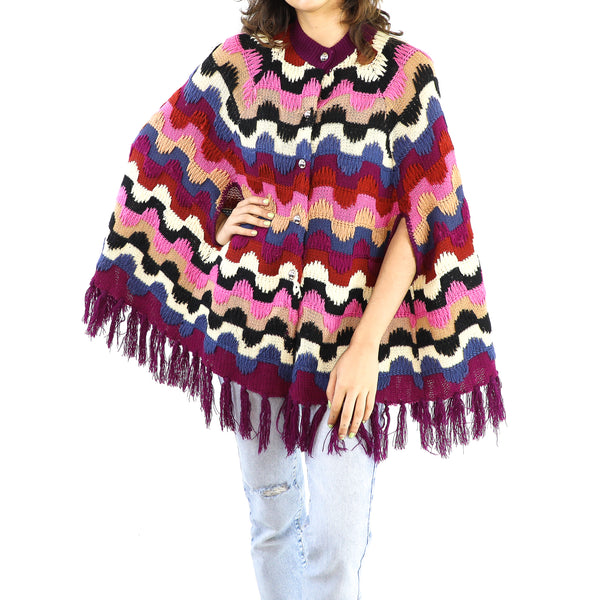Colorful Striped Wool Knitted Poncho