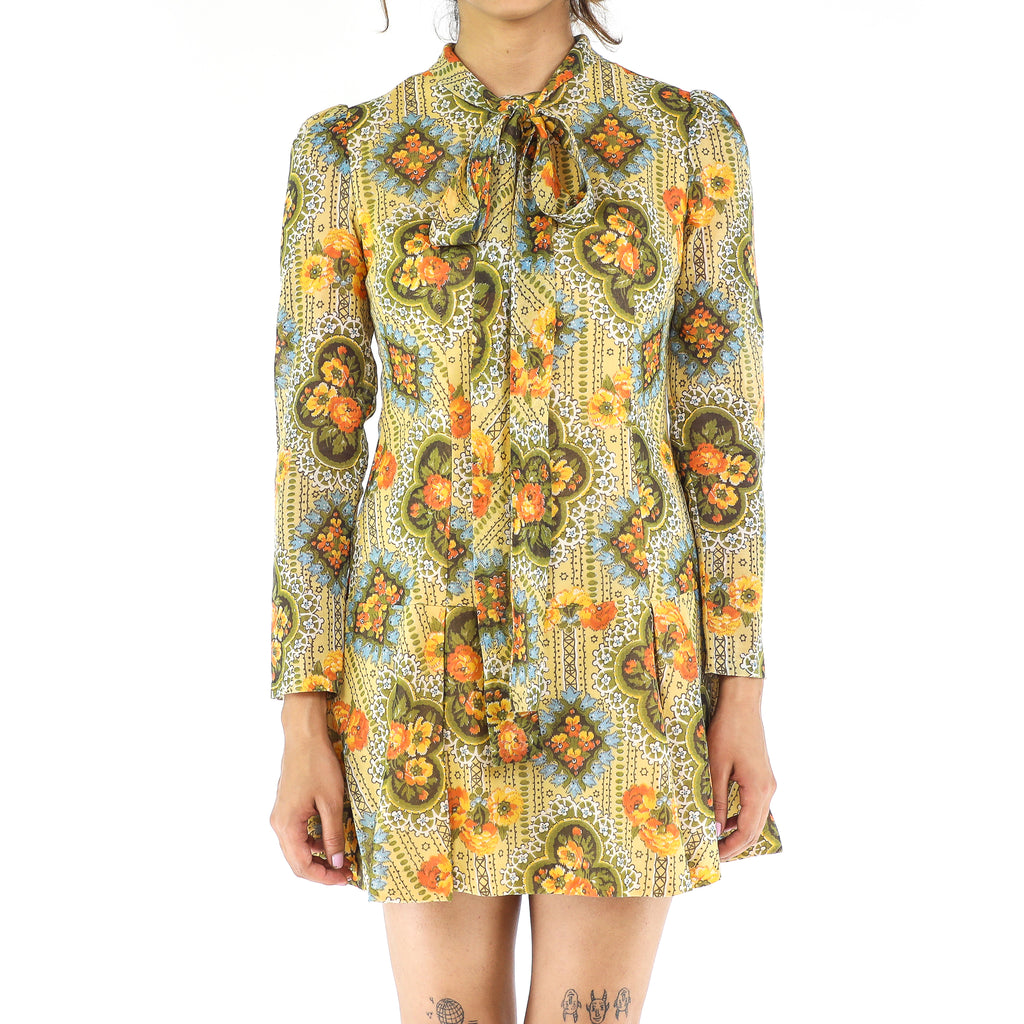Mellow Yellow Floral 60's Cotton Dress