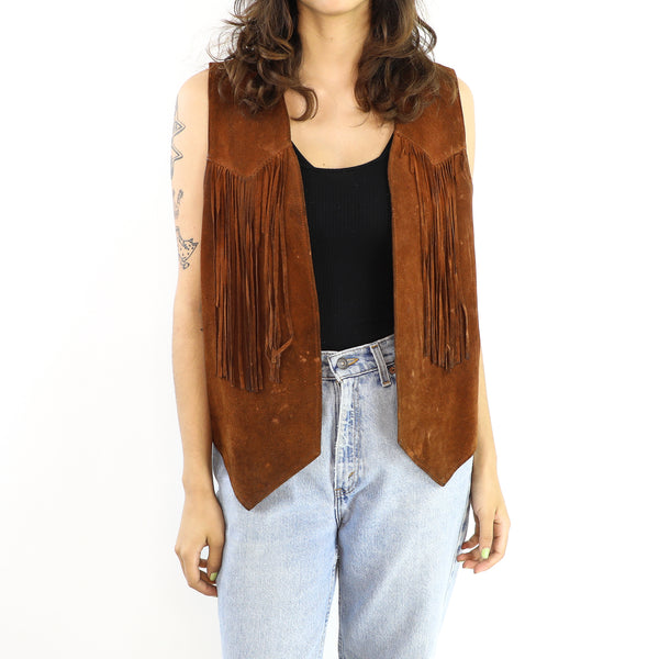 Brown Leather Vintage Vest