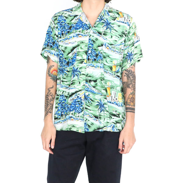Esmerald & Multicolor Rayon Surf 70's Hawaiian Shirt