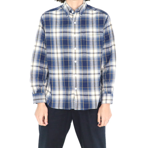 Prussian Blue & White Cotton Flannel Shirt