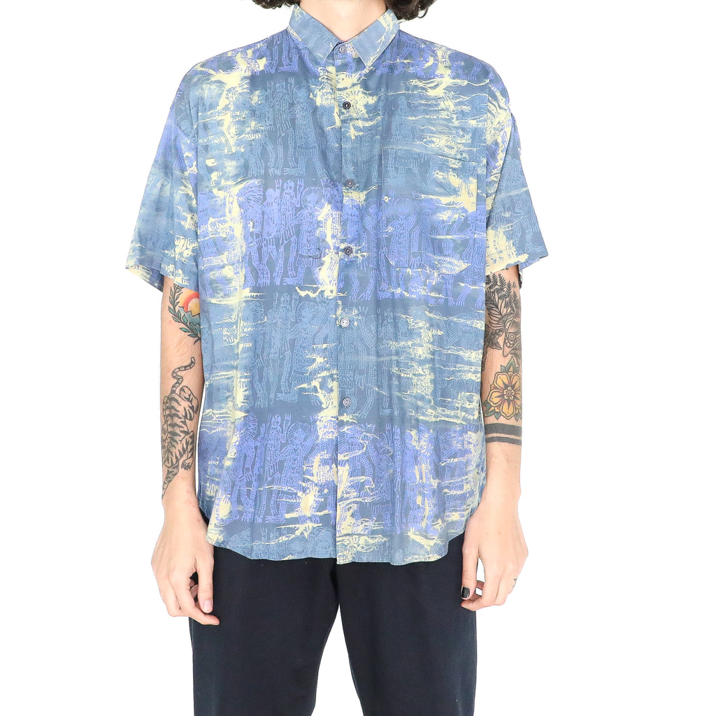 Azure Blue Cotton Aztec Patterns Hawaiian Shirt