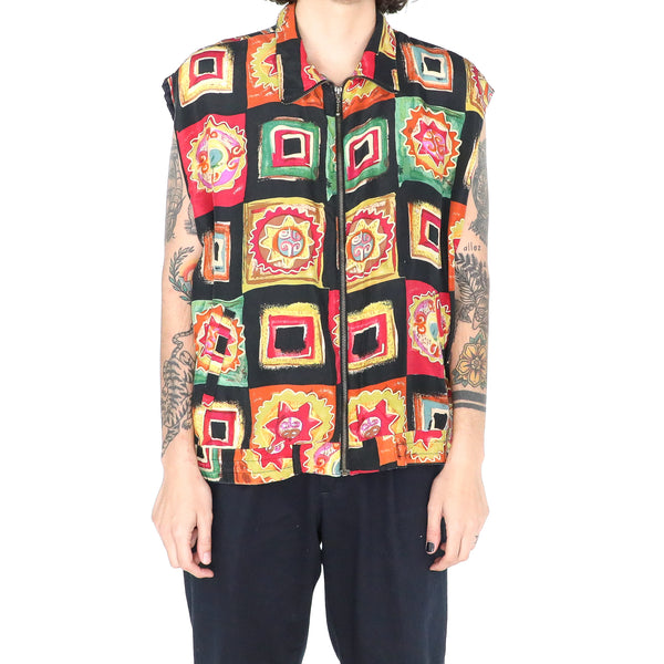Multicolor Silk Geometric Pattern 80's Vest