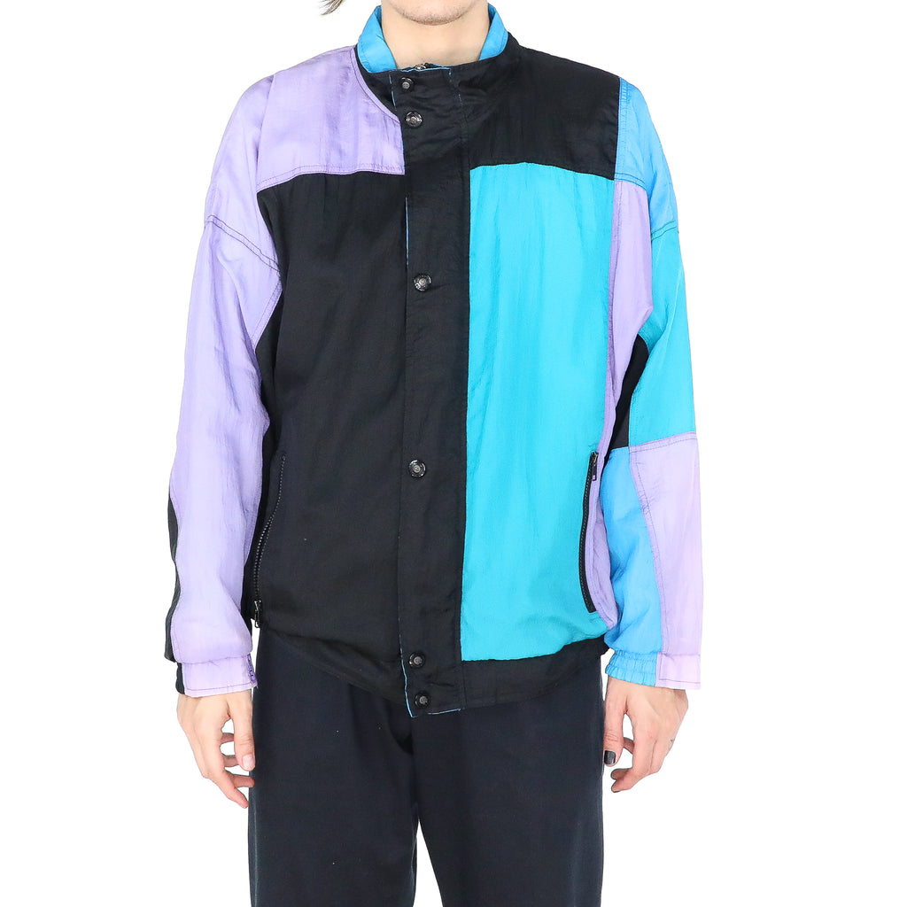 Multicolor Polyester Geometric 80's Vintage Jacket