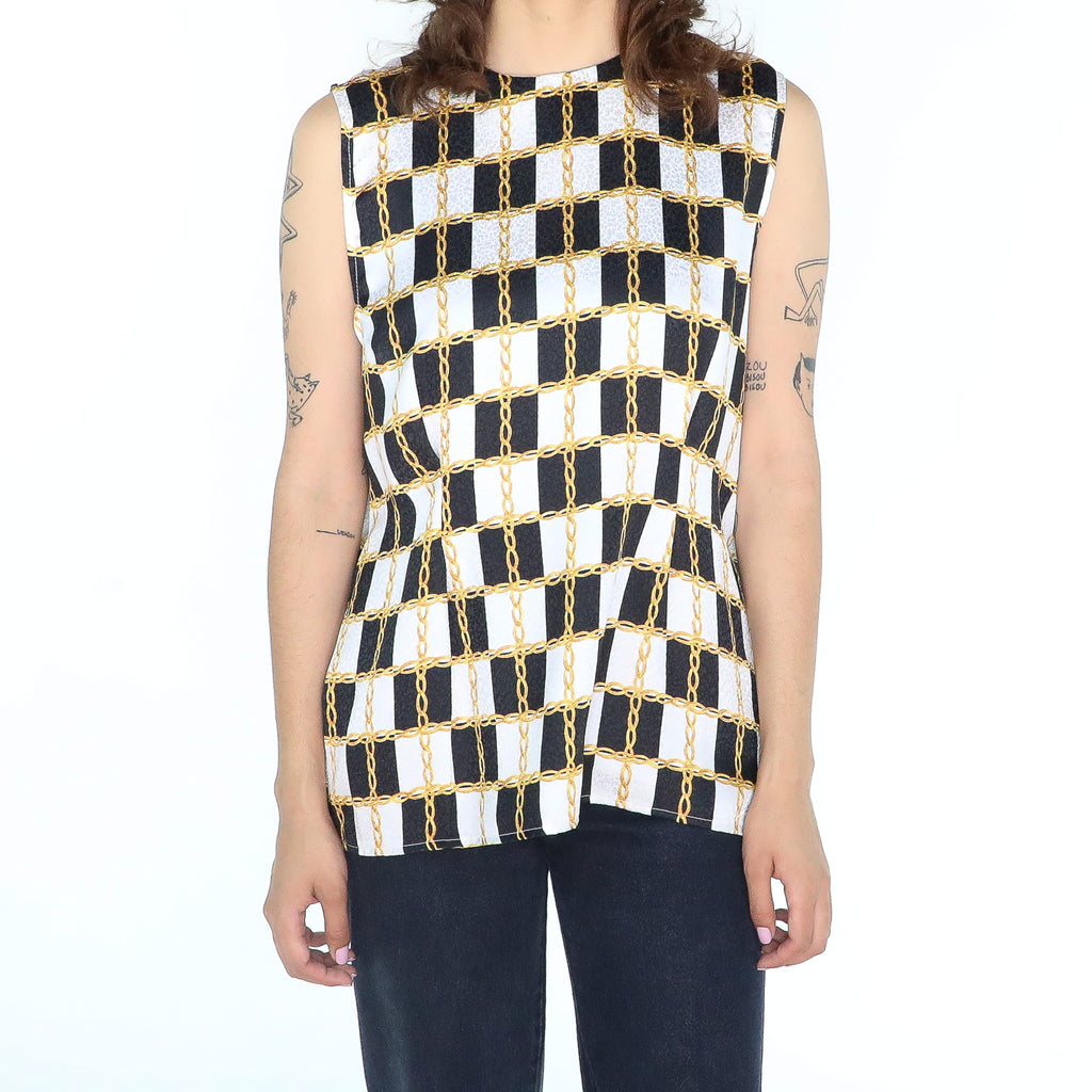 Black and white  chain print sleeveless 80's Blouse