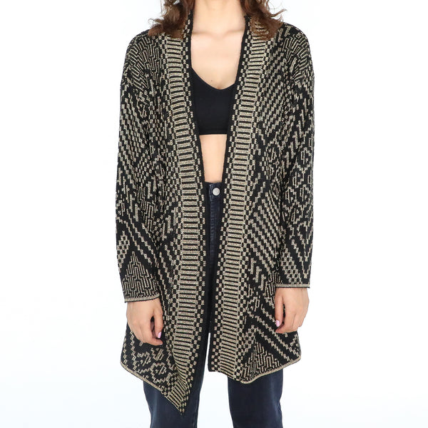 Black and gold aztec pattern long sweater
