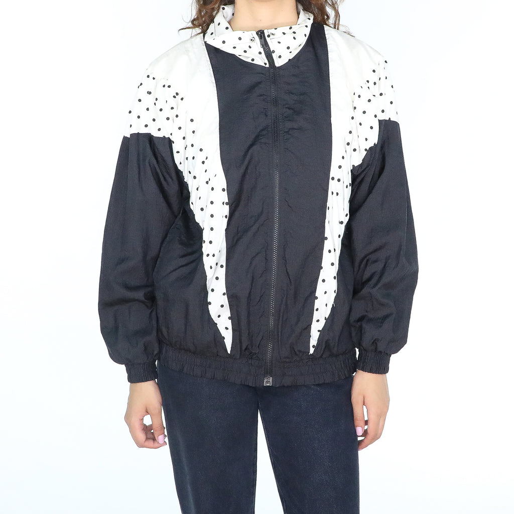Black and white polka dots oversize sporty jacket