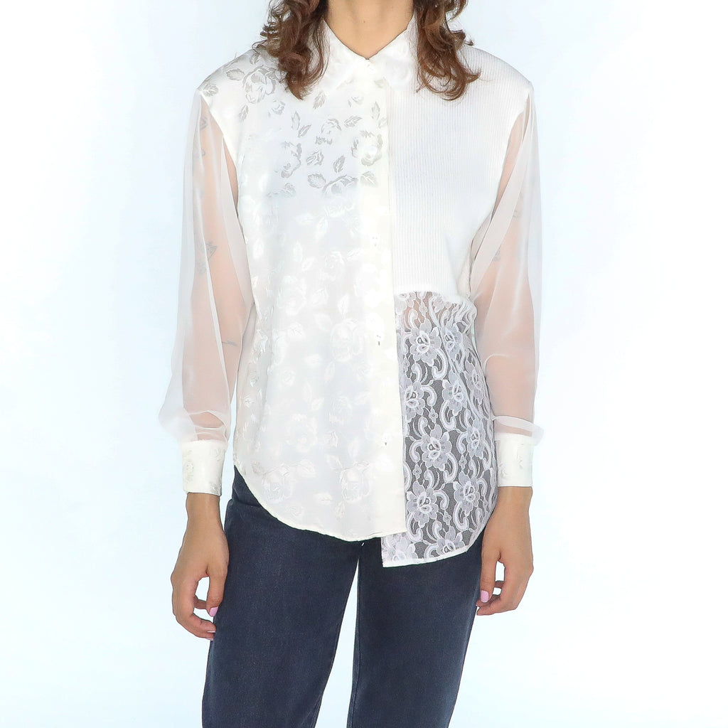 Ivory sheer lace 80's Blouse