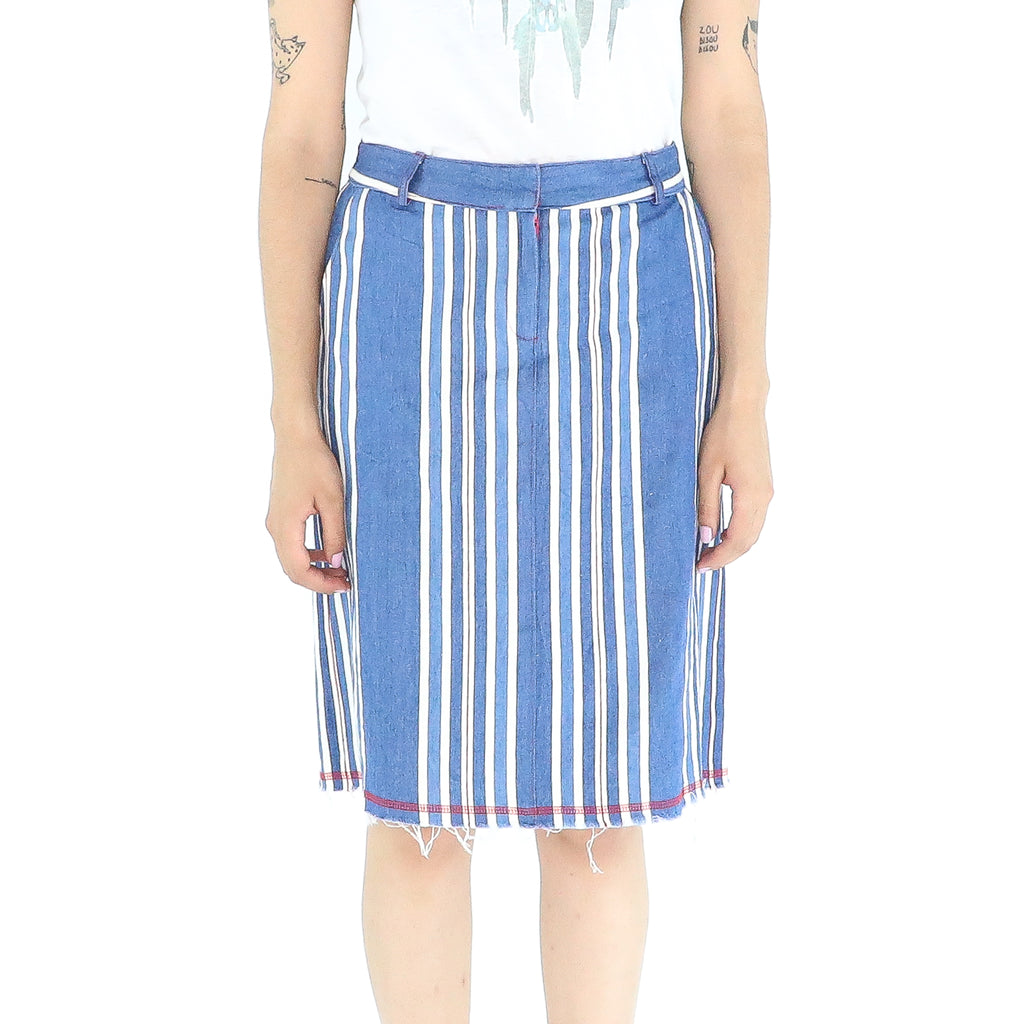 Blue & White Stripes Denim Mini Skirt