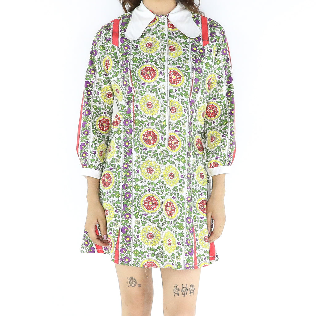 Multicolor Cotton 70's Boho Tent Dress