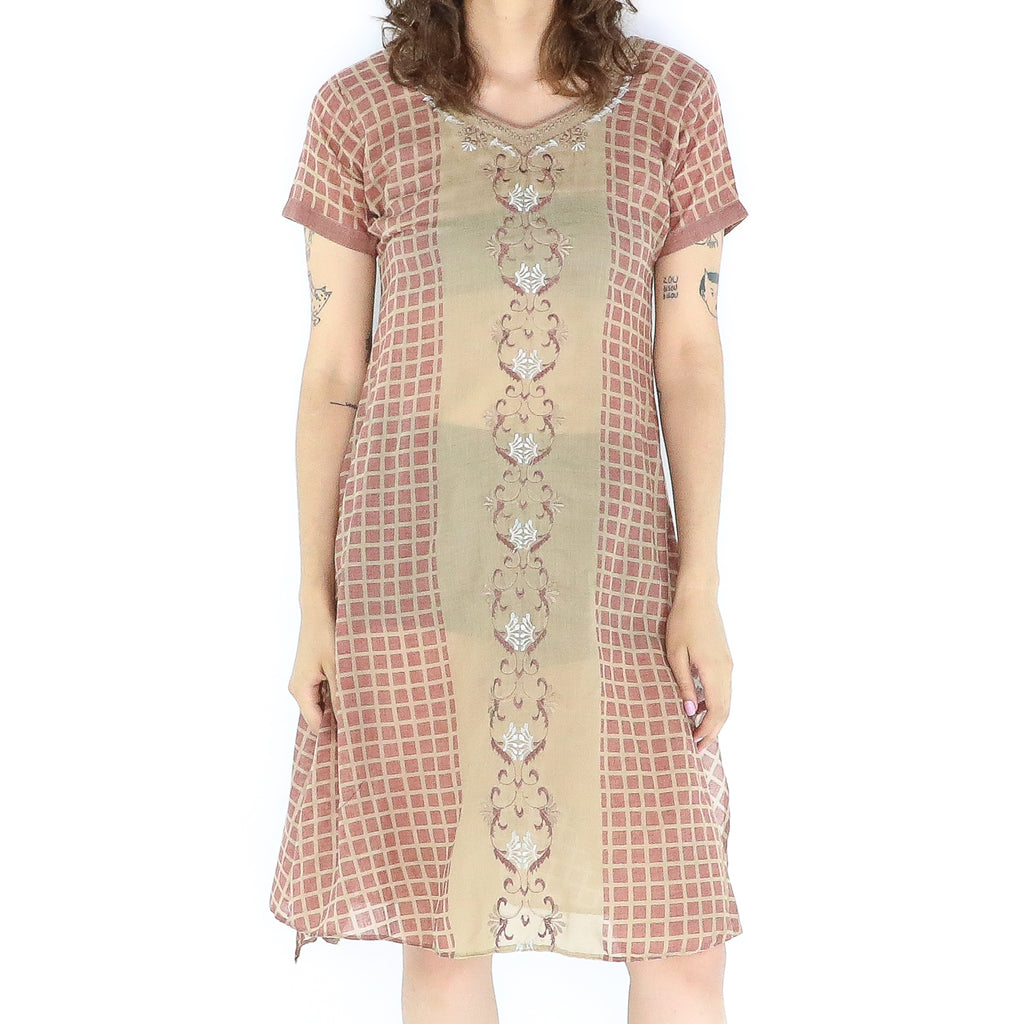 Brown & Bronze Cotton 70's Tent Dress