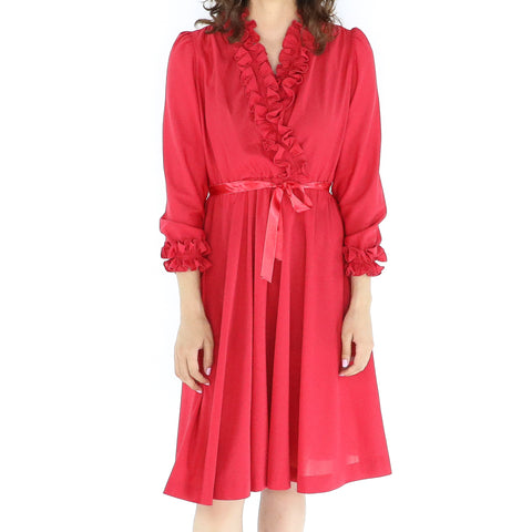 Vintage Red 70's Ruffle Collar Dress