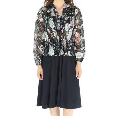 Black Floral 50's Blouse & Pleated Dress