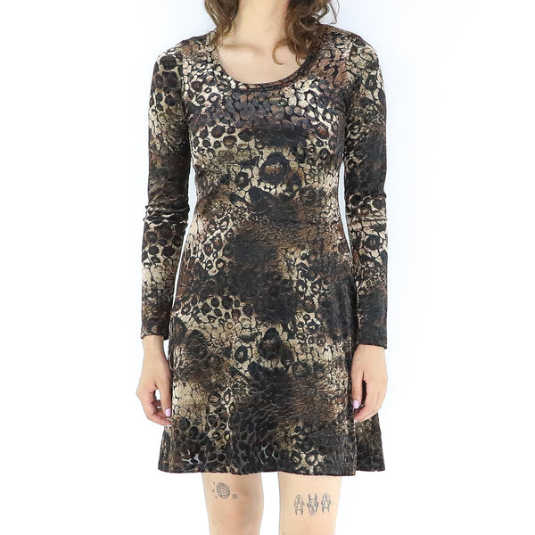 Animal Print A-line Long Sleeve Mini Dress