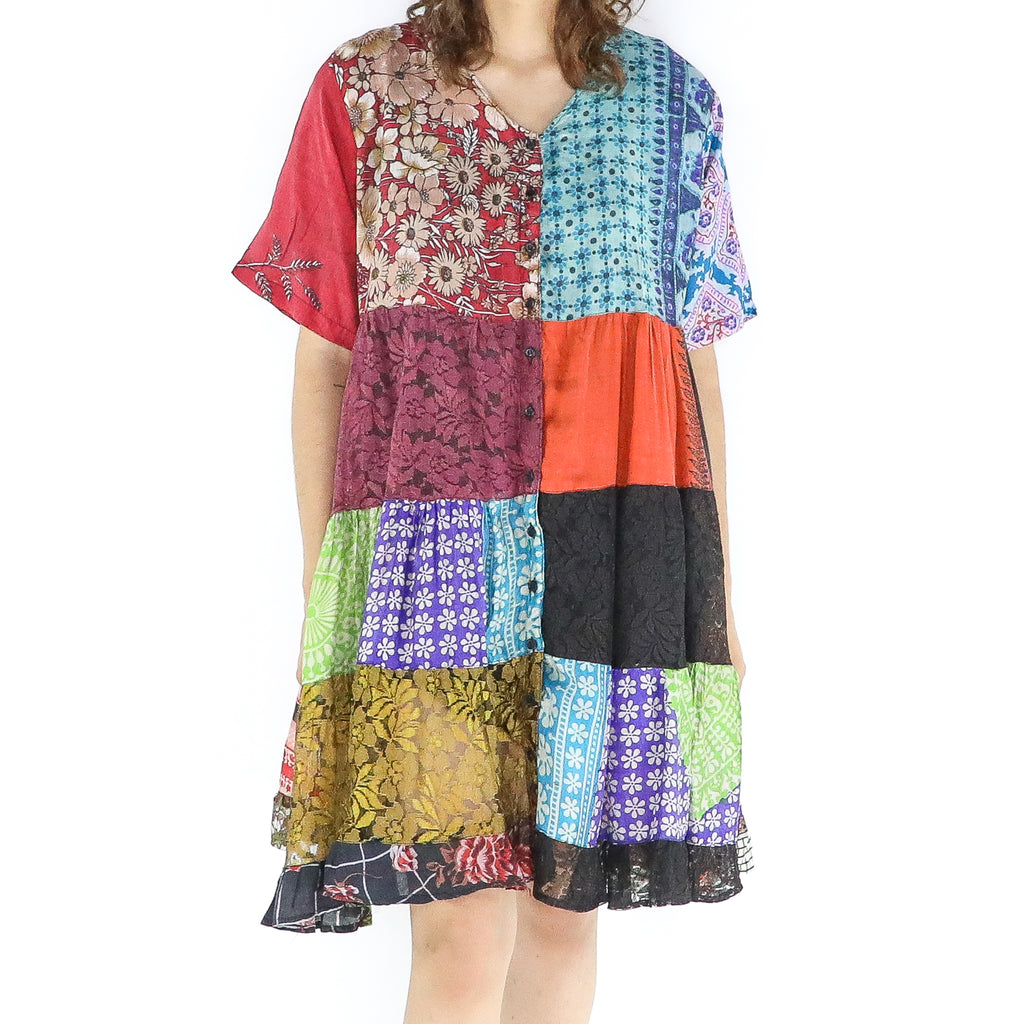 Multicolor Silk Patchwork Boho Tent Dress