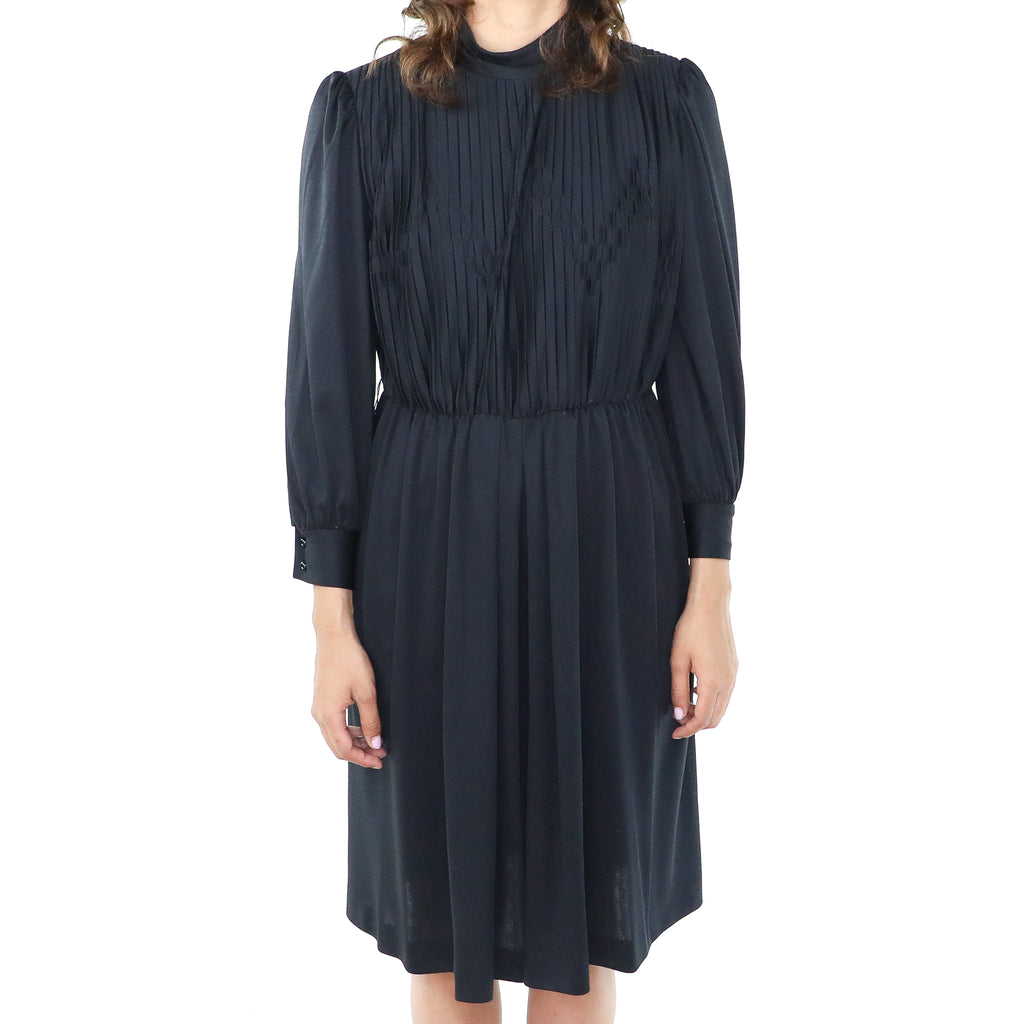 Black 60's Long Sleeve Sheath Dress