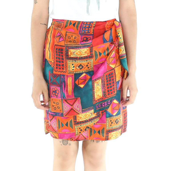 Multicolor Silk Tulip Mini Skirt