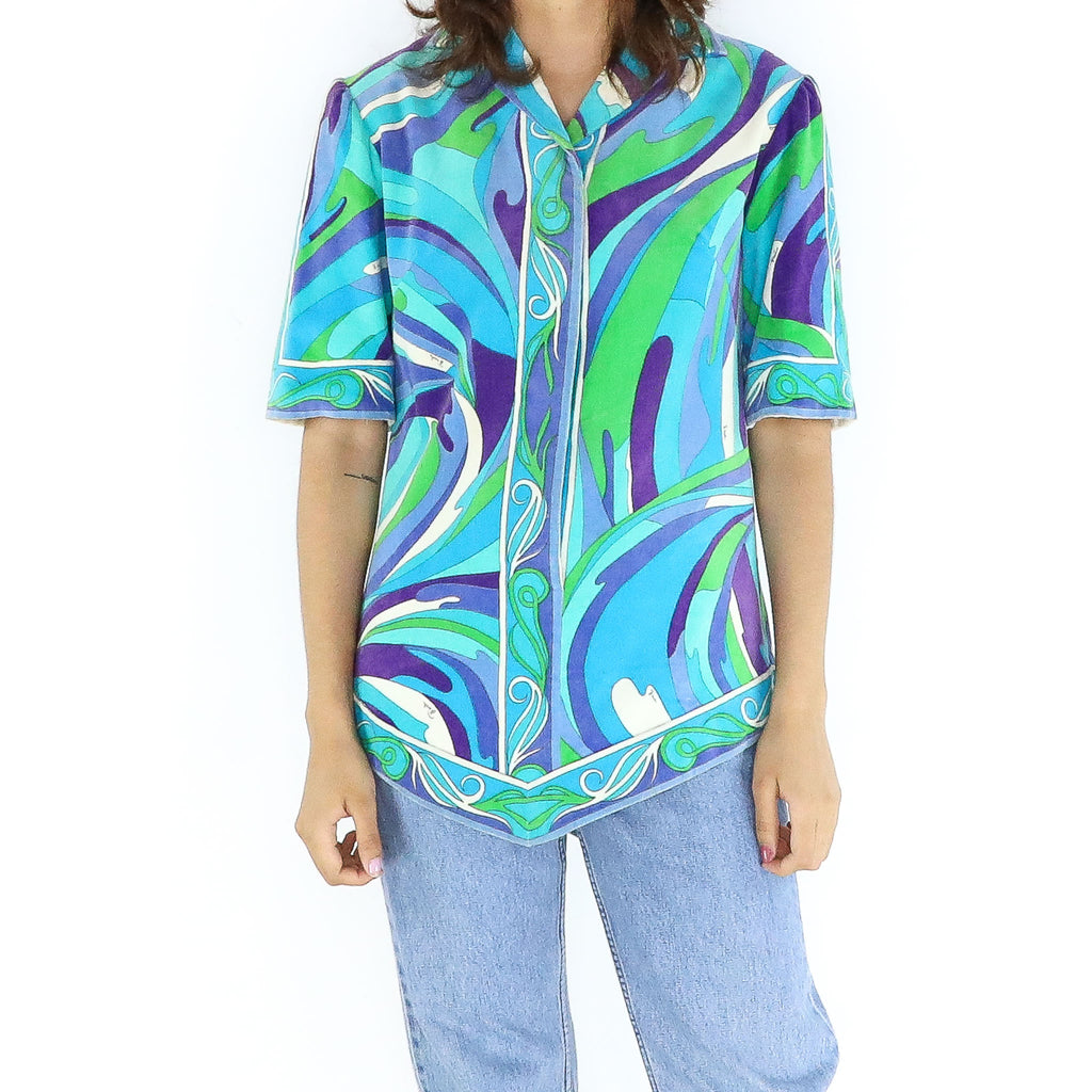 Ocean Colors Cotton Boho Blouse