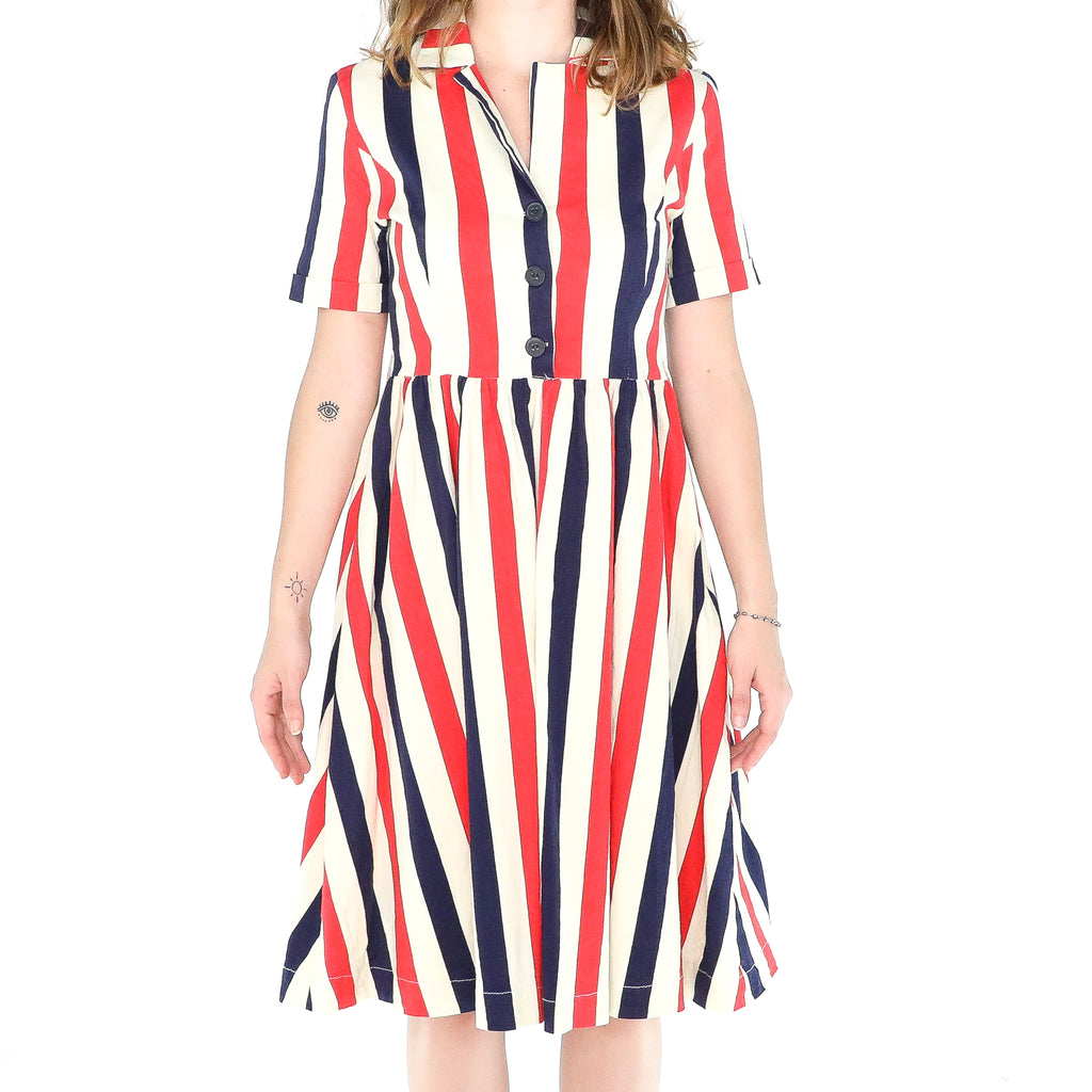 Red, Blue & White Stripes Cotton 60's Dress