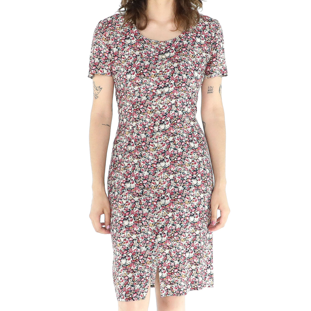 Multicolor Flowers Rayon A-line Dress