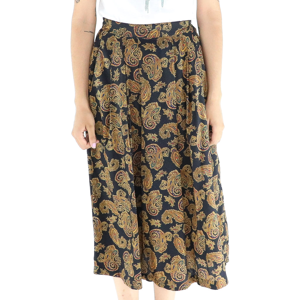 Black & Ochre Paisley Pleated Midi Skirt