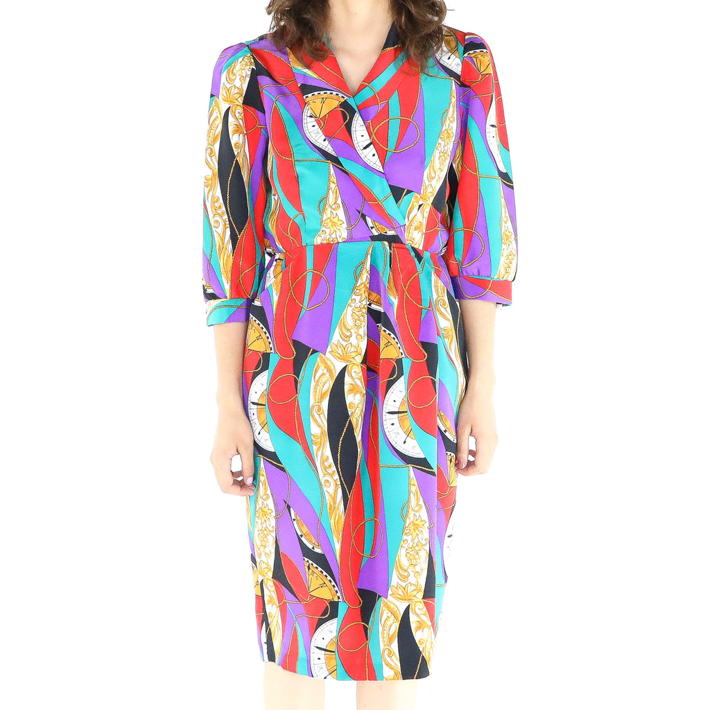 Colorful 70's Wrap Dress