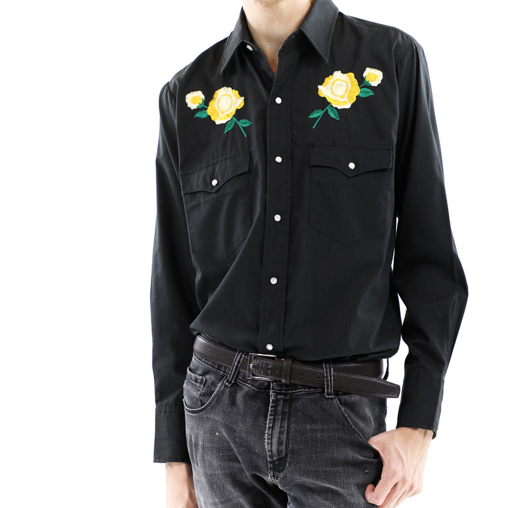 Western with Yellow Embroidered Flowers