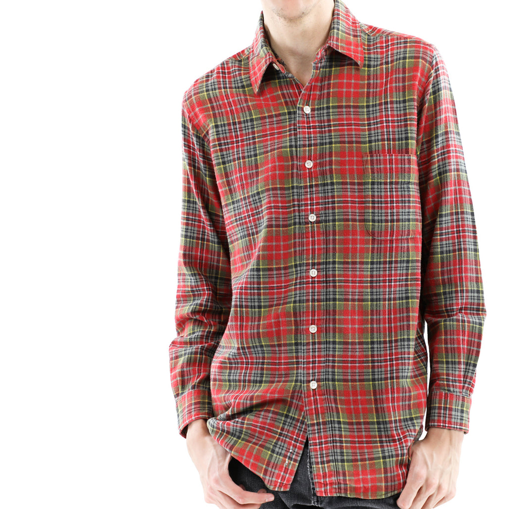Red & Green Plaid Flannel Shirt