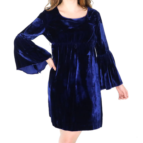 Blue Navy Velvet Gothic Dress