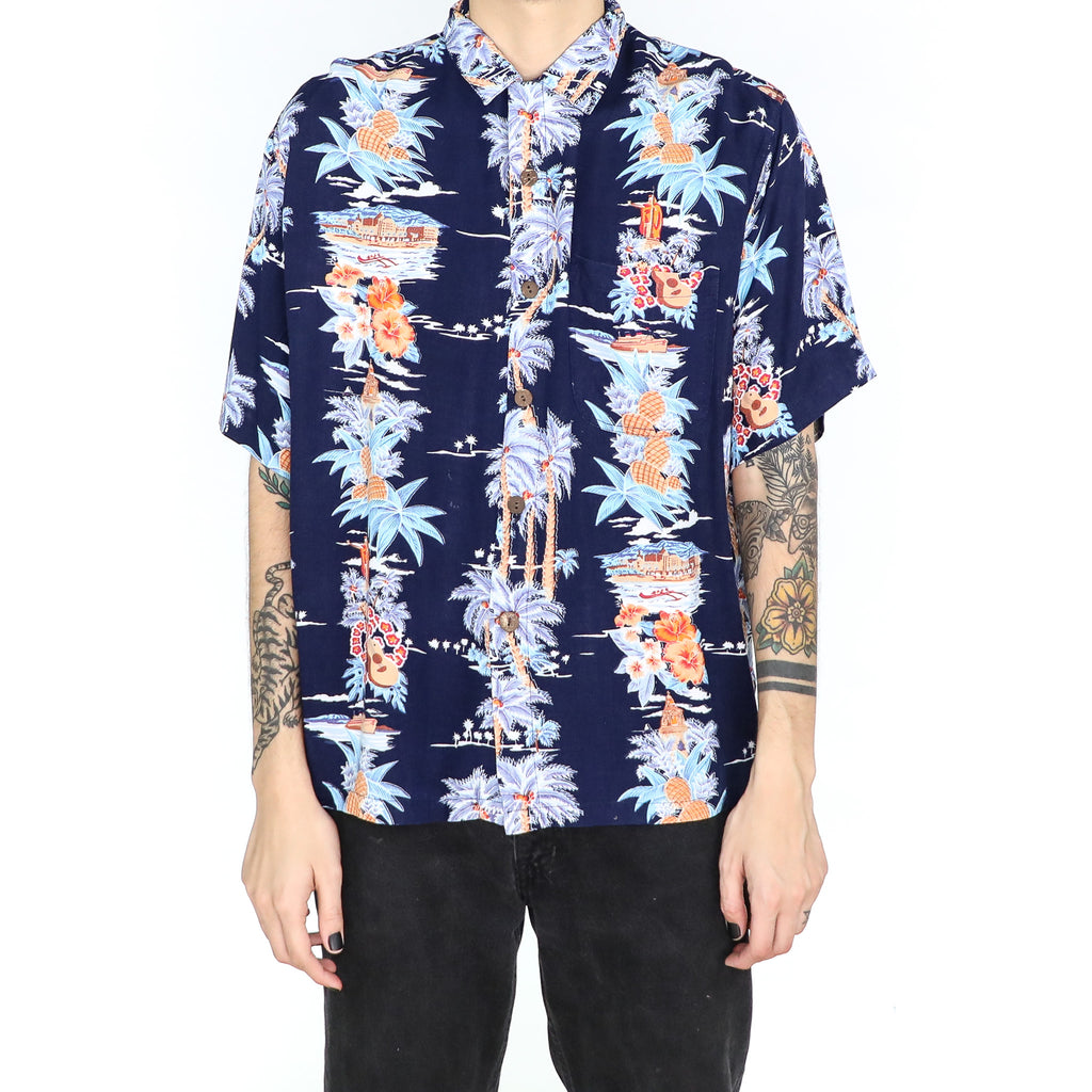 Midnight Blue Hawaiian Shirt