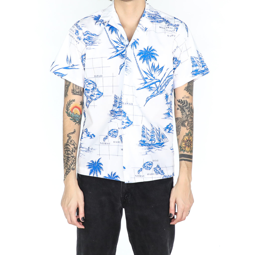 Blue & White Hawaiian Map Shirt