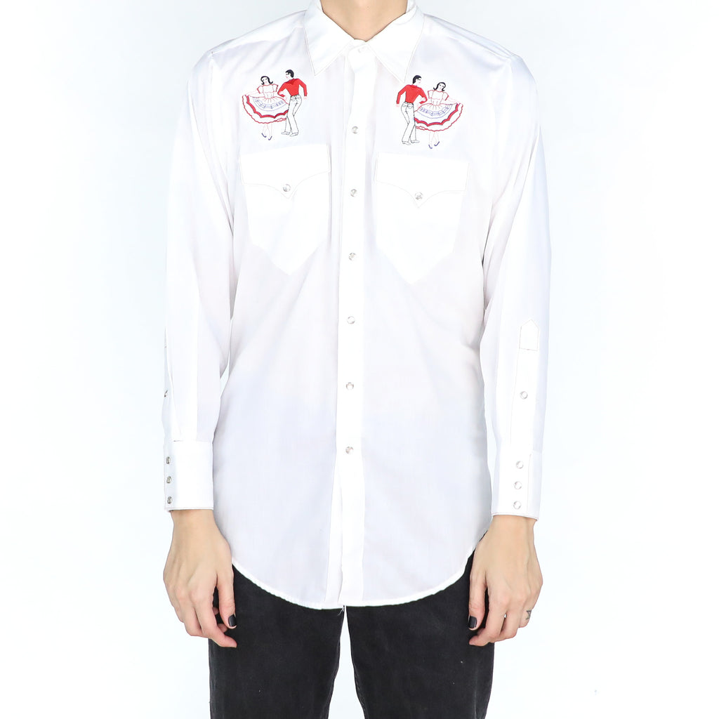 White Embroidered Western Shirt