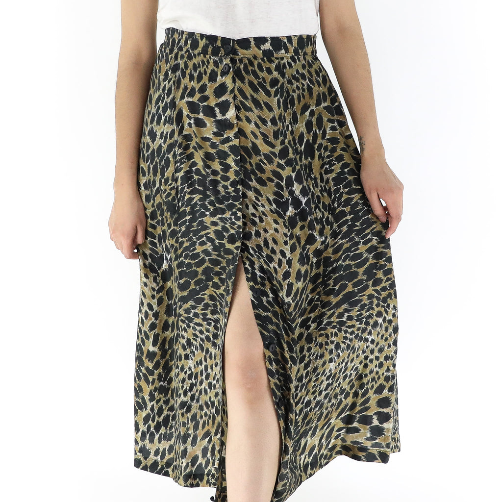 Animal Print Botton Front Skirt