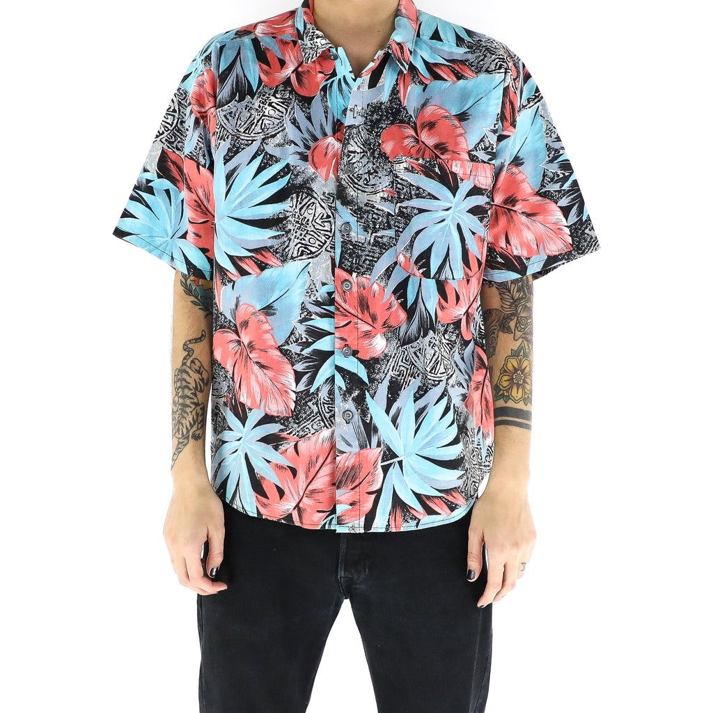 Baby Blue & Desire Red Leaves Shirt