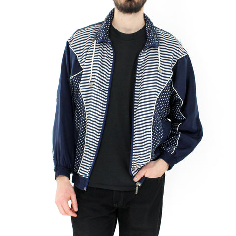 White & Navy Blue Bomber