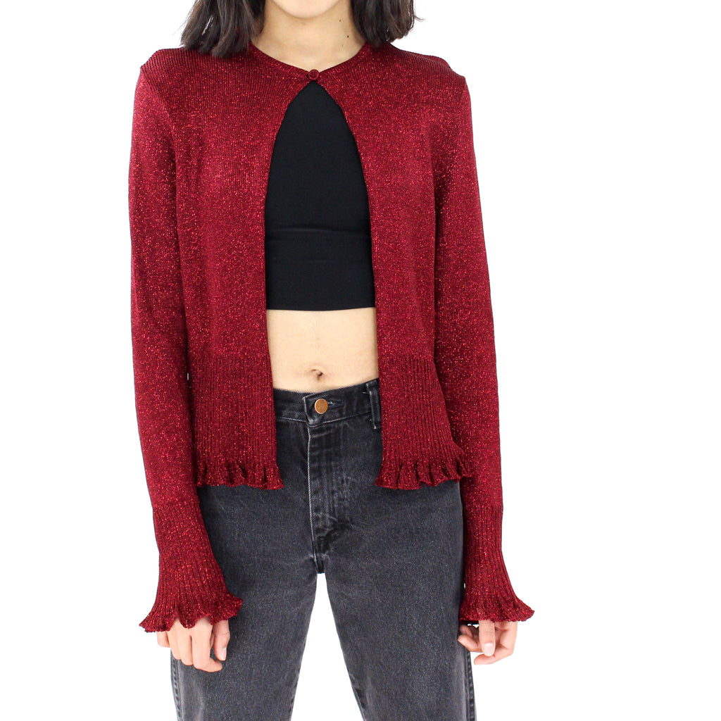 Wine Glittery Sweater