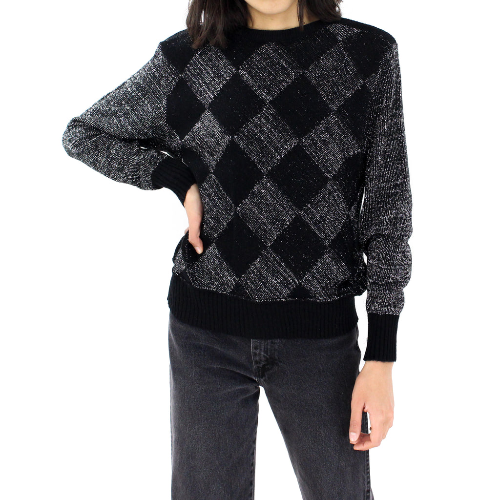 Black Glitter Rhombus Sweater