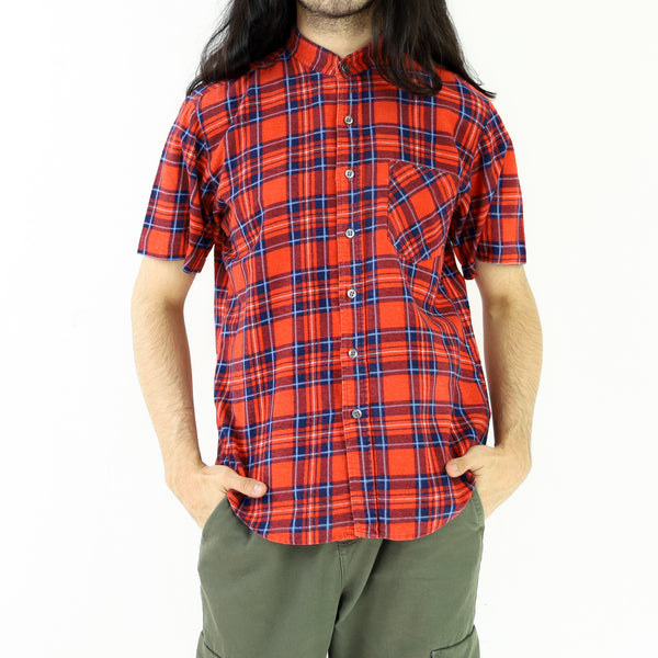 Red & Blue Plaid Pattern Flannel Shirt