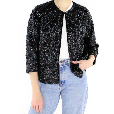 Metallic Black Sequin Jacket