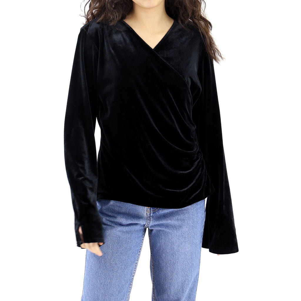 Black Polyester Long Sleeve Blouse