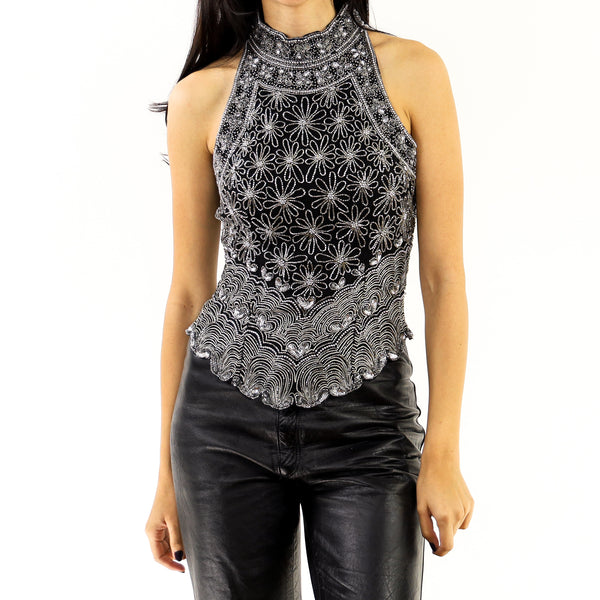 Embroidered Silver Daisies Top