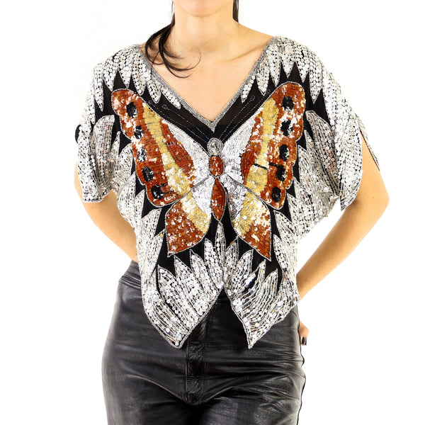Black & Silver Sequins Silk Butterfly Blouse